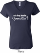 Ladies Shirt White Eat Sleep Breathe Gymnastics V-neck Tee T-Shirt