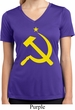 Ladies Shirt Yellow Hammer And Sickle Moisture Wicking V-neck Tee