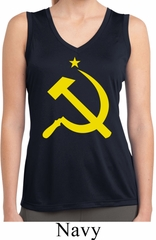 Ladies Shirt Yellow Hammer And Sickle Sleeveless Moisture Wicking Tee