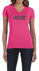 Ladies Shirts Awesome Cubed V-neck Tee T-Shirt