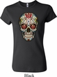 Ladies Skull Shirt Sugar Skull with Roses Crewneck Tee T-Shirt