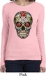 Ladies Skull Shirt Sugar Skull with Roses Long Sleeve Tee T-Shirt