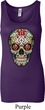 Ladies Skull Tanktop Sugar Skull with Roses Longer Length Tank Top