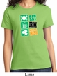 Ladies St Patrick's Day Shirt Eat Drink Be Irish Tee T-Shirt