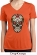 Ladies Sugar Skull with Roses Moisture Wicking V-neck Tee T-Shirt