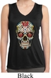 Ladies Sugar Skull with Roses Sleeveless Moisture Wicking Tee T-Shirt