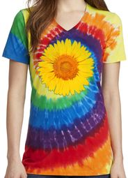 Ladies Sunflower Tie Dye V-neck Tee Shirt - Rainbow