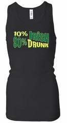 Ladies Tanktop 10% Irish 90% Drunk Longer Length Racerback Tank Top