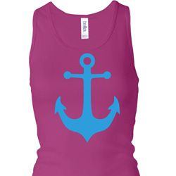 Ladies Tanktop Blue Anchor Longer Length Racerback Tank