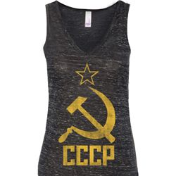Ladies Tanktop CCCP Distressed Flowy V-neck Tank Top