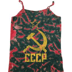 Ladies Tanktop CCCP Distressed Tie Dye Camisole Tank Top