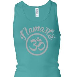 Ladies Tanktop Namaste Om Longer Length Racerback Tank Top