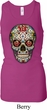 Ladies Tanktop Sugar Skull with Roses Longer Length Racerback Tank Top