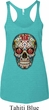 Ladies Tanktop Sugar Skull with Roses Tri Blend Racerback Tank Top
