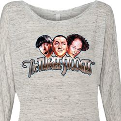 Ladies Three Stooges Shirt Stooges Faces Off Shoulder Tee T-Shirt