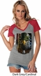 Ladies USA Tee American Eagle Contrast V-neck