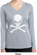 Ladies White Distressed Skull Dry Wicking Long Sleeve Shirt