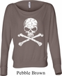 Ladies White Distressed Skull Off Shoulder Shirt