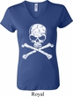 Ladies White Distressed Skull V-neck Shirt