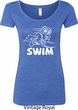 Ladies White Penguin Power Swim Scoop Neck Shirt
