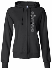 Ladies Yoga 7 Chakras Full Zip Fitted Hoodie Sweatshirt