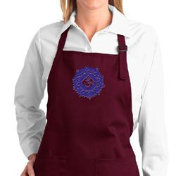 Ladies Yoga Apron Floral Sahasrara Full Length Apron with Pockets