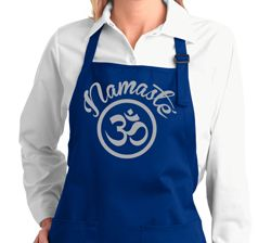 Ladies Yoga Apron Namaste Om Full Length Apron with Pockets