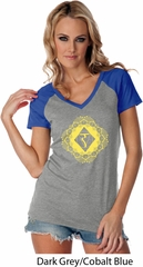 Ladies Yoga Diamond Manipura Contrast V-neck Shirt