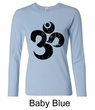 Ladies Yoga Shirt Black Distressed OM Long Sleeve Tee T-Shirt