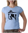 Ladies Yoga Shirt Black Tibetan Om Crewneck Tee T-shirt