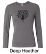 Ladies Yoga Shirt Black Tree Pose Long Sleeve Tee T-Shirt
