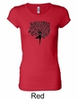 Ladies Yoga Shirt Black Tree Pose Longer Length Tee T-Shirt