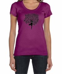 Ladies Yoga Shirt Black Tree Pose Scoop Neck Tee T-Shirt