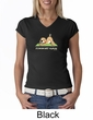 Ladies Yoga Shirt Downward Human V-neck Tee T-Shirt
