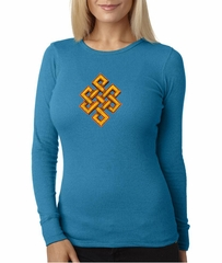 Ladies Yoga Shirt Endless Knot Long Sleeve Thermal Tee T-Shirt