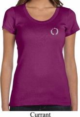 Ladies Yoga Shirt Enso Pocket Print Scoop Neck Tee T-Shirt
