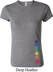 Ladies Yoga Shirt Floral Chakras Bottom Print Crewneck Tee T-Shirt