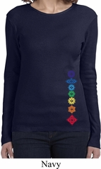 Ladies Yoga Shirt Floral Chakras Bottom Print Long Sleeve Tee T-Shirt
