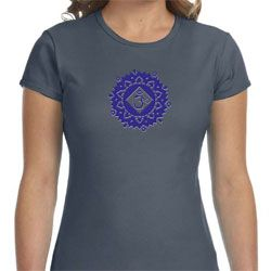 Ladies Yoga Shirt Floral Sahasrara Crewneck Tee T-Shirt
