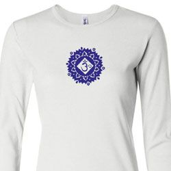 Ladies Yoga Shirt Floral Sahasrara Long Sleeve Tee T-Shirt