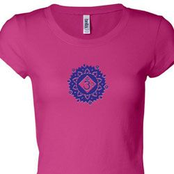 Ladies Yoga Shirt Floral Sahasrara Longer Length Tee T-Shirt