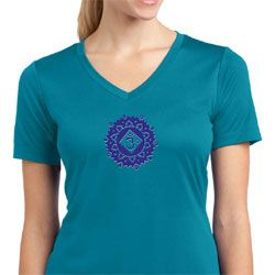 Ladies Yoga Shirt Floral Sahasrara Moisture Wicking V-neck Tee T-Shirt