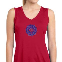 Ladies Yoga Shirt Floral Sahasrara Sleeveless Moisture Wicking Tee