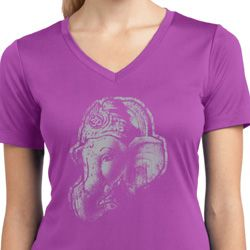 Ladies Yoga Shirt Ganesha Profile Moisture Wicking V-neck Tee T-Shirt