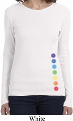 Ladies Yoga Shirt Glowing Chakras Bottom Print Long Sleeve Tee T-Shirt