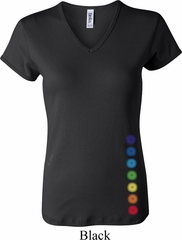 Ladies Yoga Shirt Glowing Chakras Bottom Print V-neck Tee T-Shirt