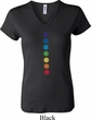 Ladies Yoga Shirt Glowing Chakras V-neck Tee T-Shirt