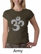 Ladies Yoga Shirt Grey Distressed OM Crewneck Tee T-Shirt
