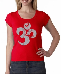 Ladies Yoga Shirt Grey Distressed OM Scoop Neck Tee T-Shirt
