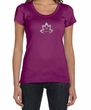 Ladies Yoga Shirt Grey Namaste Lotus Scoop Neck Tee T-Shirt